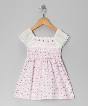 Pink Floral Rhinestone Dress - Toddler & Girls