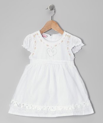 White Rhinestone Heart Dress - Toddler & Girls