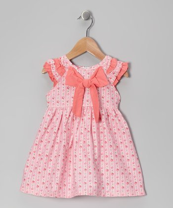 Pink Floral Bow Dress - Girls