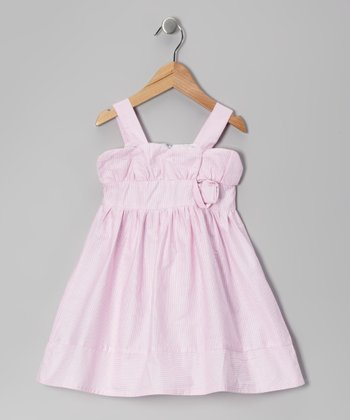 Light Pink Stripe Rosette Dress - Toddler