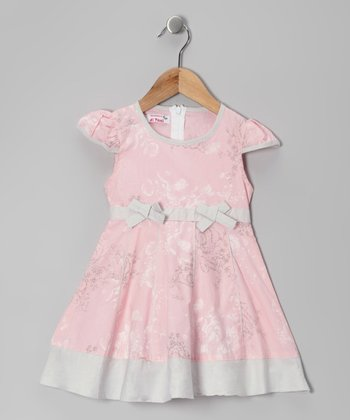 Pink & Gray Floral Bow Dress - Toddler & Girls