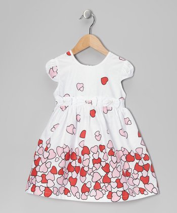 Di Vani White & Pink Heart Dress - Toddler