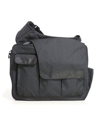 Black Pinstripe Mesenger II Diaper Bag
