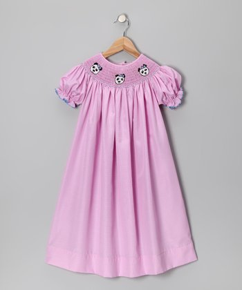 Pink Gingham Panda Bishop Dress - Toddler & Girls