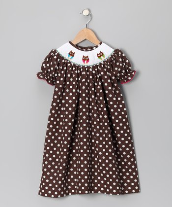 Brown Polka Dot Owl Bishop Dress - Infant & Girls