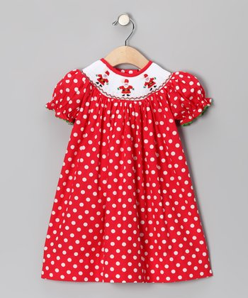 Red Polka Dot Santa Bishop Dress	- Infant, Toddler & Girls
