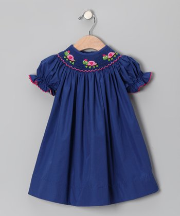 Navy Turtle Bishop Dress - Toddler & Girls