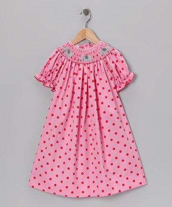 Pink Polka Dot Elephant Bishop Dress - Infant, Toddler & Girls