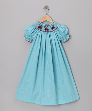 Turquoise Gingham Ladybug Bishop Dress - Infant, Toddler & Girls