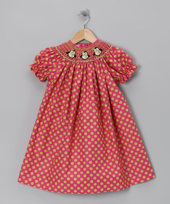 Pink Polka Dot Penguin Bishop Dress - Infant, Toddler & Girls