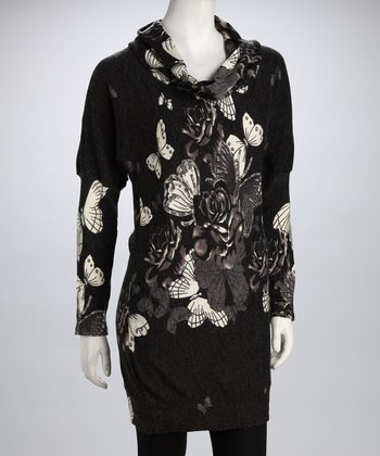 Black & White Butterfly Cowl-Neck Long-Sleeve Dress