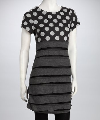 Gray Polka Dot Ruffle Dress