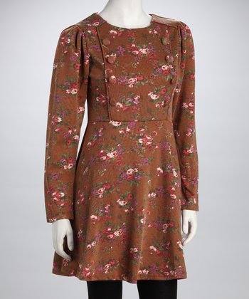 Brown Floral Long-Sleeve Dress