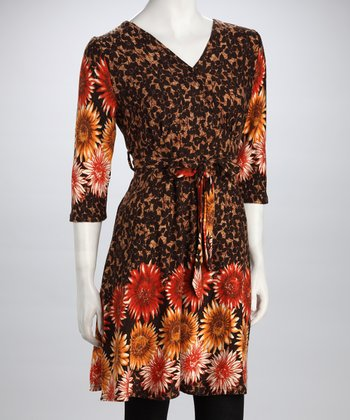 Brown Flower Sash V-Neck Dress
