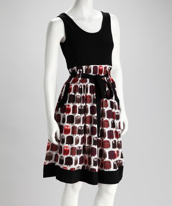 Black Owl Sash Dress