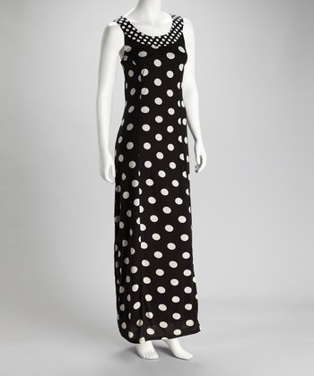 Black Polka Dot Maxi Dress - Women