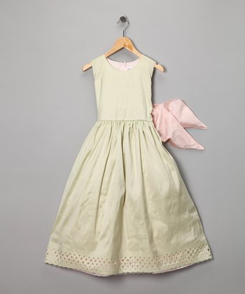 Dimples Lime & Pink Silk Trellis Dress - Girls