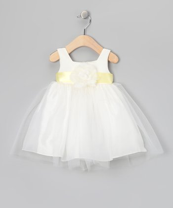 Ivory & Yellow Overlay Dress - Infant & Girls