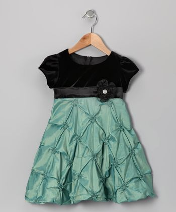 Green Velvet Taffeta Dress - Infant & Toddler