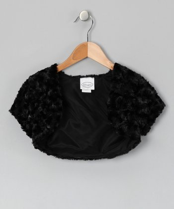 Dimples Black Minky Swirl Shrug - Girls