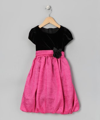 Fuchsia Velvet Crinkle Bubble Dress - Infant