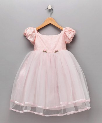 Dimples Pink Organza Silk Rosette Dress - Infant & Toddler