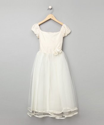 Dimples Ivory Organza Silk Rosette Dress - Girls
