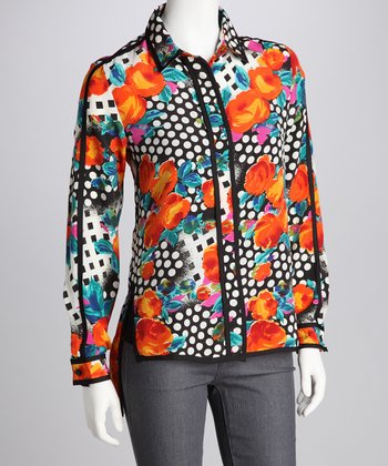 Dimri Orange Garden Button-Up