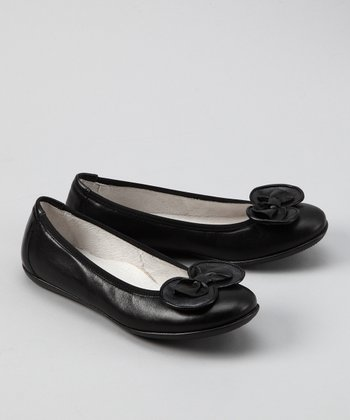 Black Leather Ballet Flat