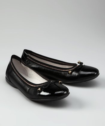 Black & Gold Trim Patent Ballet Flat