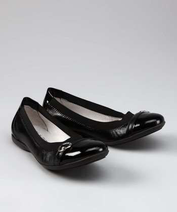 Black Leather Patent Toe Buckle Ballet Flat