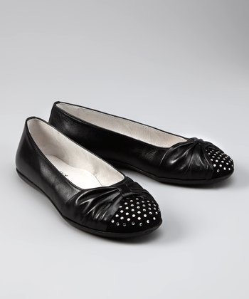 Black Leather Sparkle Ballet Flat