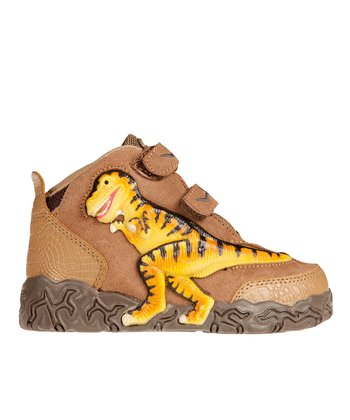 Brown Light-Up 3-D T-Rex Hi-Top Sneaker