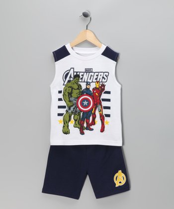 White 'Marvel Avengers' Star Tank & Shorts - Infant & Toddler