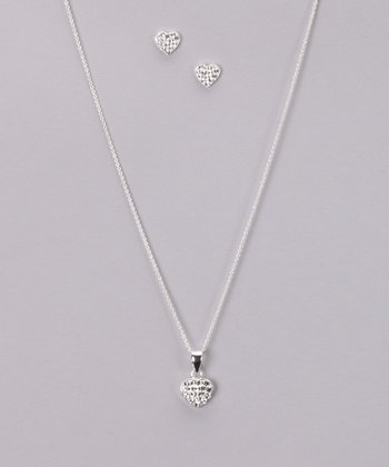 Crystal Heart Sterling Silver Necklace & Earrings