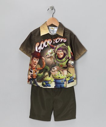 Brown & Green 'Good Toys' Button-Up Shirt & Shorts - Toddler
