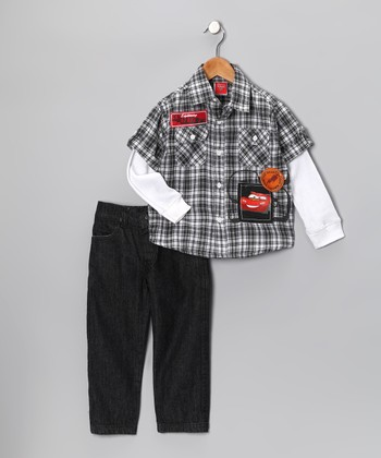 Black Cars Plaid Layered Button-Up & Jeans - Infant