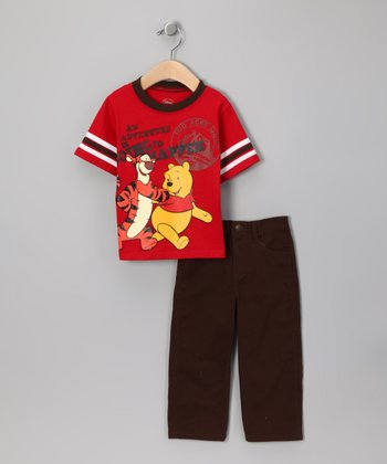 Red & Brown 'Adventure' Tee & Pants - Infant