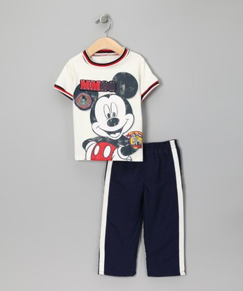 White & Navy Mickey Tee & Track Pants - Infant