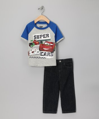 Gray & Blue 'Super Cars' Raglan Tee & Pants - Infant