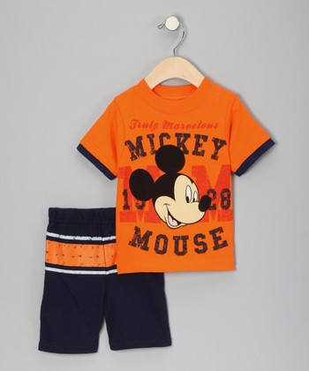 Orange & Navy 'Mickey Mouse' Tee & Shorts - Infant