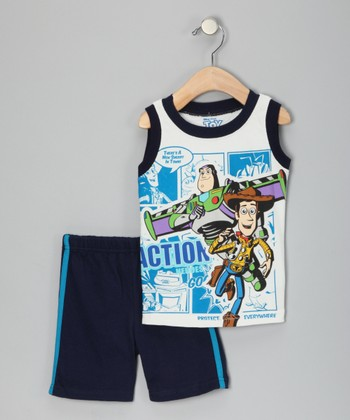 White & Navy 'Toy Story' Tank & Shorts - Infant