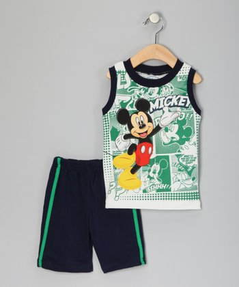 Green & Navy Mickey Tank & Shorts - Infant