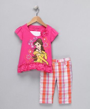 Pink Belle Ruffle Top & Capri Pants - Toddler