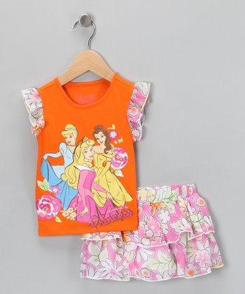 Orange & Pink 'Princess' Top & Ruffle Skort - Toddler