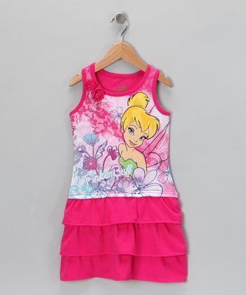 Pink 'Tinker Bell' Tier Ruffle Dress - Toddler