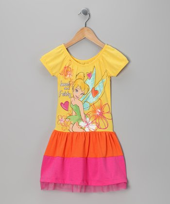 Yellow Tinker Bell Color Block Dress - Girls