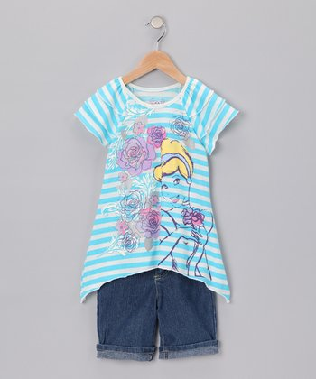 Light Blue Cinderella Sidetail Tunic & Shorts - Girls