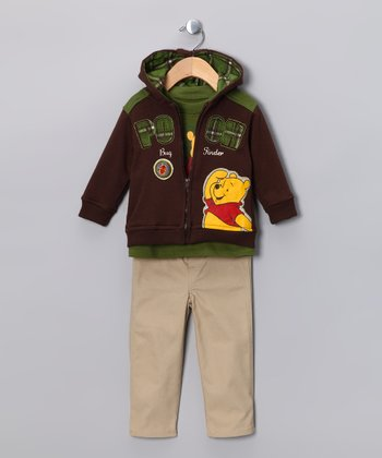 Brown Winnie the Pooh 'Bug Finder' Zip-Up Hoodie Set - Infant