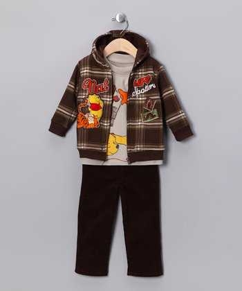 Brown Winnie the Pooh Zip-Up Hoodie Set - Infant